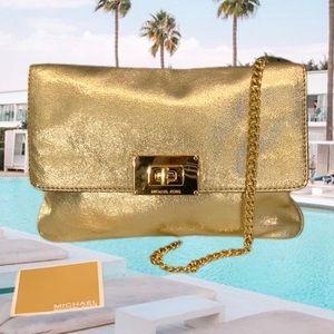 Michael Kors Gold chain clutch purse